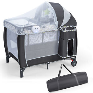 All IN 1 Baby Portacot Folding Travel Cot Infant Bassinet Crib w/Changing Table