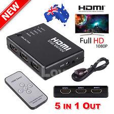 1080P Full HD 5 Port HDMI Splitter Switch Hub HDTV Video with IR Remote Control