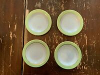 Vintage Pyrex Lime Green With Gold Trim 6.75 Inch Dessert Plate Set Of 4 AA