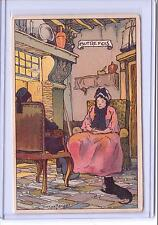 VINTAGE OLD WOMAN IN CHAIR WITH BLACK CAT ART POSTCARD BY BELGE