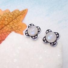 Mondstein Blüte weiß blau rund Stecker Ohrringe Ohrstecker 925 Sterling Silber