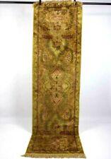 Vintage Silk Rug Oriental Runner Area Rug Golden Tan Floral Pictorial Size 2 x 7