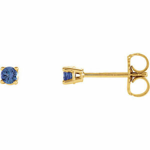 2.5mm Round Blue Tanzanite Earrings In 14K Yellow Gold