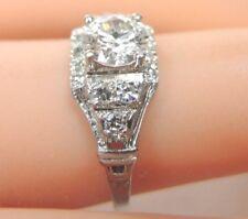 Antique Art Deco Vintage Diamond Engagement Platinum Ring Sz 5.75 UK-L EGL USA