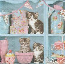 2 Serviettes en papier chats dans la cuisine - Paper Napkins Cats in the Kitchen