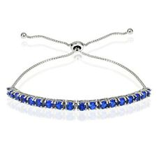 Sterling Silver 2ct Created Blue Sapphire Adjustable Bracelet