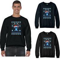 Lilo and Stitch Santa Hat Christmas Jumper, Disney Funny Xmas Festive Gift Top