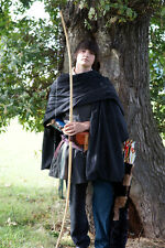 médiévale-LARP-Re adoption-SCA-Cosplay-Archer-Noblemans NOIR RIDING GRANDE CAPE