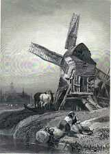 Antique engraving print The Hague mill Holland - Molen Den Haag Nederland 1838