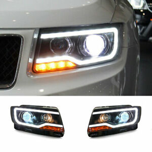 For Jeep Compass LED Headlights Projector LED DRL Replace OEM Halogen 2011-2017