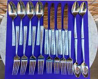Mikasa Oliver | Hammered 20-Piece 18/10 Stainless Steel Flatware Silverware Set