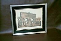 "Vintage Wood Framed Matthew Dubourg Engraving Print No. 23 - ""Claudian Aqueduct"""