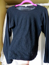 Italian Black Lace Embroidery Thermal Virgin Wool Top Camisole Vest UK 12 14 M L