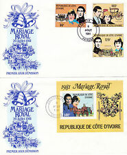 IVORY COAST 8 AUGUST 1981 ROYAL WEDDING SET & M/SHEET ON 2 FIRST DAY COVERS