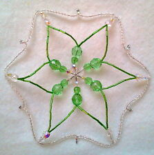 Christmas Beaded Large Snowflake Ornament In Peridot Green With Czech Beads