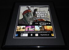 Grand Theft Auto San Andreas 2005 PS2 XBox Framed 11x14 ORIGINAL Advertisement