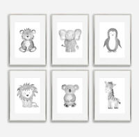 Grey Safari Animal Baby Nursery Prints Set Childrens Bedroom Decoration Boy Girl