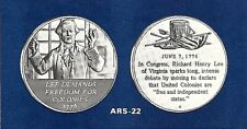 American Revolution Proof Medal 22 Rh Lee Demands Freedom For Colonies June 1776
