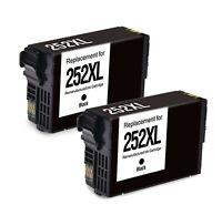 2Pk Black 252XLT252XL Ink Cartridge for Epson WorkForce WF 3620 3640 7710 7610