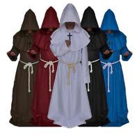 Costume da Monaco vestito frate halloween tunica carnevale saio lungo cappuccio