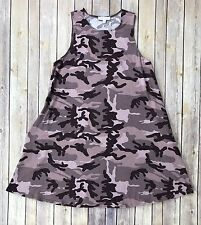 Socialite Women's Small High Neck Pink Camo Tank Dress Tunic Pockets Flaw A13