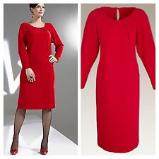 Simply Be Size 18 Roland Klein Luxury Red DRESS Pleat Detail Occasion Party New