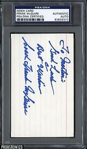 Index Card Frank McGuire Signed AUTO PSA/DNA AUTHENTIC