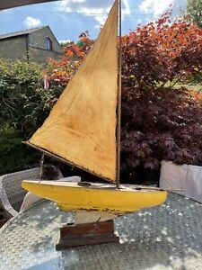 Antique Large wooden Sailing pond yacht  Lead Keel Brass Fittings C1920