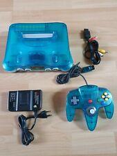 N64 - Nintendo 64 Konsole Clear Ice Blue Original Controller sehr guter Zustand