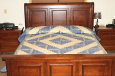 AUTHENTIC AMISH QUILT HAND QUILTED LOG CABIN STYLE  BLUES AND IVORY KING / QUEEN