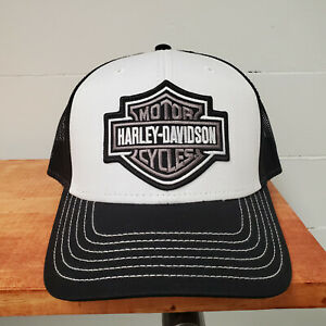 Harley-Davidson Mens Embroidered Bar & Shield Black and White Baseball Cap