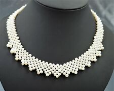 Womens Necklace Woven Cultured Freshwater Pearls Gold Plated Vintiage Jewellery