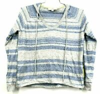 Ann Taylor Loft Women's Medium Blue Stripe Long Sleeve Light Pullover Hoodie