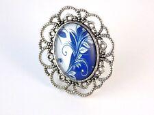 Bague Arabesques Argent Cabochon ovale Bleu Blanc