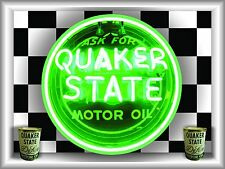 QUAKER STATE OIL GAS STATION NEON STYLE BANNER SIGN LARGE SHADOWBOX ART 4' X 3'