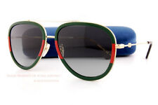 ab976c2ff53 Gucci Gg0062s 003 Red Green Gold Aviator Sunglasses Grey Gradient Lens