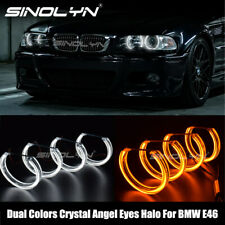 DTM Acrylic LED Angel Eyes Halos Switchback For BMW E46 Headlight Accessories