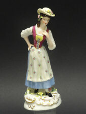 """ANTIQUE 19c VOLKSTEDT DRESDEN LADY FIGURINE with ROCOCO MOULDED BASE  ~ 7.25"""""""