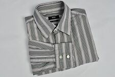 "HUGO BOSS £89 Twoplay Formal Men's Shirt 16"" Size 41 Striped Casual Black Multi"