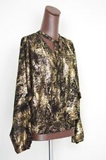 NEW Michael Kors Black Gold Glitter Sparkle Blouse L Scarf Tie Long Sleeve