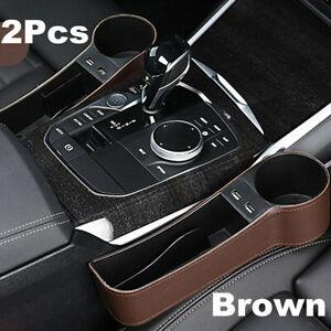 2Pcs PU Dual USB Car Pocket Organizer Seat Console Gap Filler Side Catcher