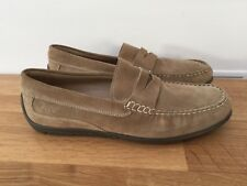 ECCO Men's soft beige suede loafers  slip on shoes - Dybamic Moccasins UK 12  46