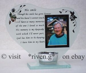 HIS SMILE MEMORIAL Photo Frame with VERSE Plaque@Glass Ornament Grave Stone