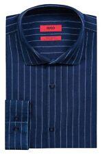 Hugo Boss Men's 'Erondo' Dark Blue Extra Slim Fit Striped Dress Shirt 18, 35/36