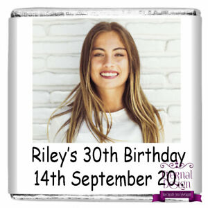 Personalised Birthday Party Milk Chocolate Square Favours Gifts Your Picture
