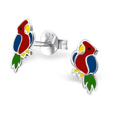 Childrens Girls Sterling Silver Pair Red Parrot Stud Earrings Macaw 925 - Boxed