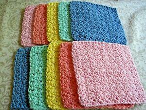 "10 Crochet  Dishcloths / Washcloths 100% Cotton - Handmade - 6 ""- Pastel"