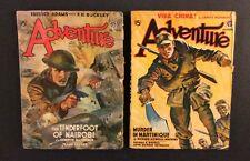 2 Vintage ADVENTURE PULP Magazines 1940 1941 Fiction for Men Popular Publication