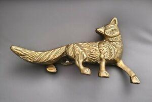 Vintage Solid Brass Heavy Fox Figurine Desk Ornament