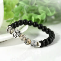 Fashion Men Punk Silver Lion Beaded Cuff Charm Bangle Bracelet Black Lava Stone
